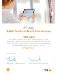 Weiterbildung Heiko Cudok Digitale Expertise ING